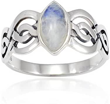 925 Sterling Silver Genuine Moonstone Celtic Double Infinity Knot Band Ring - Nickle Free